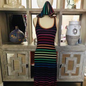 Rainbow Maxi Dress with Hood